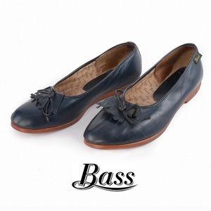 Bass Blue Leather Ballet Flats - Size 9M